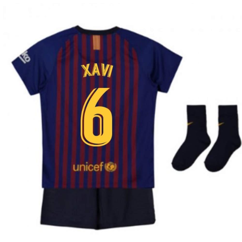 UKSoccershop 2018-2019 Barcelona Home Nike Baby Kit (Xavi 6)