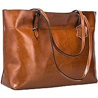 S-ZONE Women's Vintage Genuine Leather Tote Shoulder Bag Handbag Upgraded Version