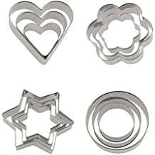 12 Piece Stainless Steel Cookie Cutter, Metal Cake Vegetable Fruit Biscuit Cutters Molds Set, Hearts Flowers Stars Round Shape, Silver