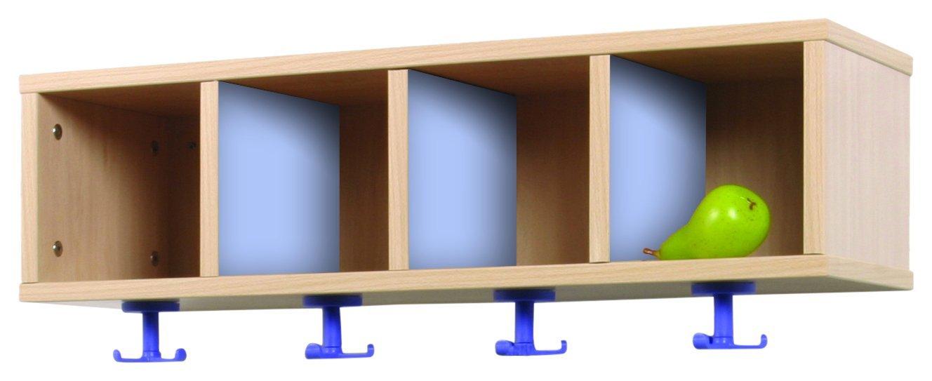 precio al por mayor Mobeduc Mueble Mueble Mueble Perchero 4 Casillas 80-22, Haya, Haya y Azul Lavanda, 80x28x28 cm  toma