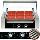 Safstar Commercial 30 Hot Dog 11 Roller Stainless Steel Non Stick Electric Hotdog Grilling Cooker Machine with Cover - 1650 Watt