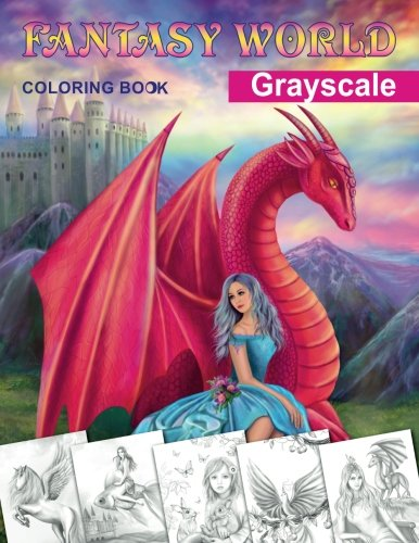Fantasy World. Grayscale coloring book: Adult coloring book [Alena Lazareva] (Tapa Blanda)