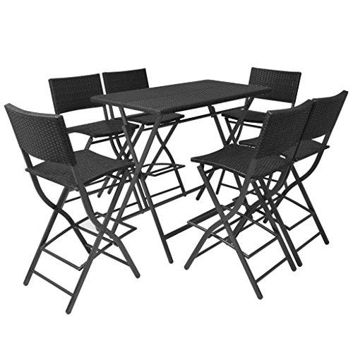 Tidyard Set Comedor de jardin Plegable 7 pzas Poli ratan y Acero Negro Conjunto de Mesa sillas,Mesa Salon y Sillas,Muebles de Jardin Exterior Conjuntos