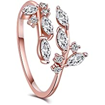 KOREA-JIAEN Branch Ring S925 Sterling Silver Plated 5A Level Cubic Zirconia Adjustable Opening Ring