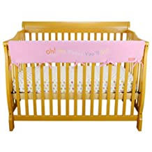 Trend Lab Fleece Dr. Seuss CribWrap Wide Rail Cover for Crib Front or Back, Pink Oh! the Places You'll Go!