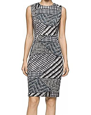 Calvin Klein Animal Printed Women's Sheath Dress Black 10