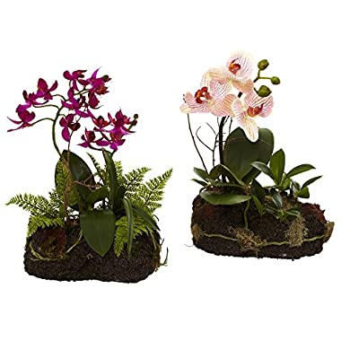 Nearly Natural 4835-S2 Orchid Island Floral Arrangement, Set of 2