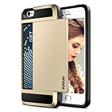 iPhone 5S Case, Vofolen® iPhone 5S Wallet Case Impact Resistant Hybrid Armor Defender Snap-on Black Soft Rubber Bumper Cover Skin Protective Shell with Card Slot Holder for iPhone 5S/5 (Champagne)