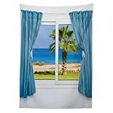 House Decor Tablecloth Blue Curtains White Walls Sunny Day Shore Palm Tree Island View Horizon Rest Dining Room Kitchen Rectangular Table Cover
