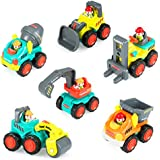 Construction Vehicle Toy Trucks Push and Go Sliding Cars for Baby Toddlers Over 18 Months- Bulldozer, Cement Mixer, Dumper, Forklift, Excavator and Road Roller Colorful Gift (Set of 6 )