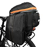 Ibera 2 in 1 PakRak Commuter Bicycle Trunk Bag with Expandable Panniers, Clip On Quick Release Design and Detachable Shoulder Strap