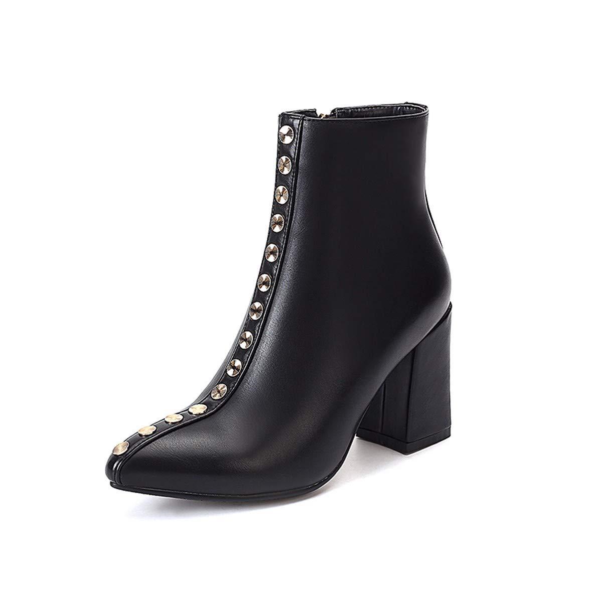 KPHY Damenschuhe Einzelne Schuhe Mode Rivet Stiefel Mit 8.5Cm Hohen 8.5Cm Mit Elegante Hart Sagte Martin Stiefel High Heels Und Kurze Stiefel. ef5926