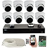 GW 8 Channel H.265 PoE NVR Ultra-HD 4K (3840x2160) Security Camera System with 8 x 4K (8MP) IP Dome Camera, 100ft Night Vision, Weatherproof Surveillance Camera