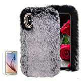 For Samsung Galaxy A8 2018 Soft Warm Plush Case [with Free Screen Protector],Funyee Artificial Fluffy Villi Wool Cute Plush Soft Silicone TPU Case for Samsung Galaxy A8 2018 with Shiny Diamond,Gray