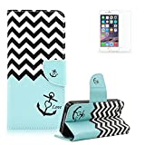 LG Nexus 5X Case [with Free Screen Protector], Funyye Elegant Premium Folio PU Leather Wallet Magnetic Closure with Stand Function Book Style Built-in Magnet Flip Credit Card Holder Slots Ultra Slim Thin Stylish Colored Drawing Patterns Case Cover for LG Nexus 5X - Anchor and Ripple