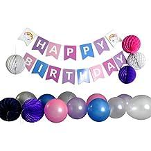 Unicorn Birthday Party Supplies for Girls; Set w/ 8 Balloons, 8 Paper Pom Pom Balls, & Happy Birthday Banner Garland (Unicorn (pink, purple, navy))