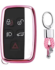 First2savvv Pink Premium Soft TPU Car Key Case Shell Cover with Key Chain for Land Rover Range Rover Evoque Discover Sport. Freelander Jaguar XE XF XJ F-Type
