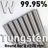 Tungsten Solid Round Rod 8 x 100 mm Polymet