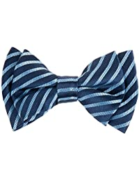 Modern Stripe Woven Microfiber Pre-tied Boy's Bow Tie - Navy Blue with Blue Stripe - 8-10 years
