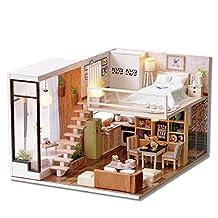 Junda DIY Dollhouse Miniature with LED Light DIY Wooden House Kit Creative Decor Great Gift (Holiday Time)