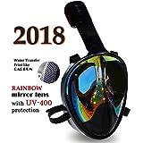 Full Face Mask For Snorkeling- Easy Breath- 180? Panoramic Seaview- Rainbow Mirror Lenses HD- Design Scuba Mask- Anti-Leak & Anti-Fog- Adjustable Silicone Straps
