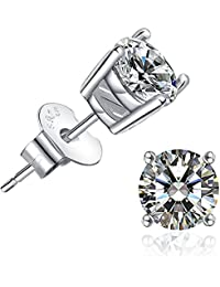 925 Solid Sterling Silver Cubic Zirconia Round Stud...