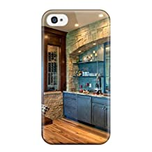 Special Design Back Kitchen With Blue Cabinets Stone Amp Corner Wine Cellar Phone Case Cover For Iphone 4/4s