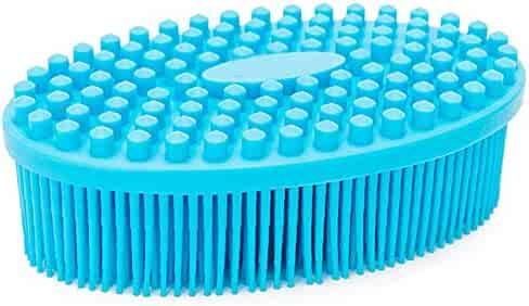 Silicone Bath Shower Loofah Brush, 100% Silicone Gentle Back Scrubber, Best Body exfoliating loofa Brush Gift for Baby Kids Men Father Mother Wife Family (Blue)