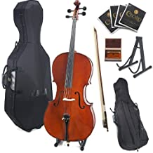 Cecilio CCO-500 Ebony Fitted Flamed Solid Wood Cello with Hard and Soft Case, Stand, Bow, Rosin, Bridge and Extra Set of Strings, Size 1/2