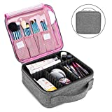 NiceEbag Travel Makeup Bag Portable Cosmetic Bag Large Capacity Makeup Case for Women Cosmetic Case with Adjustable Dividers for Cosmetics Make Up Tools Toiletry Jewelry Digital accessories,Grey