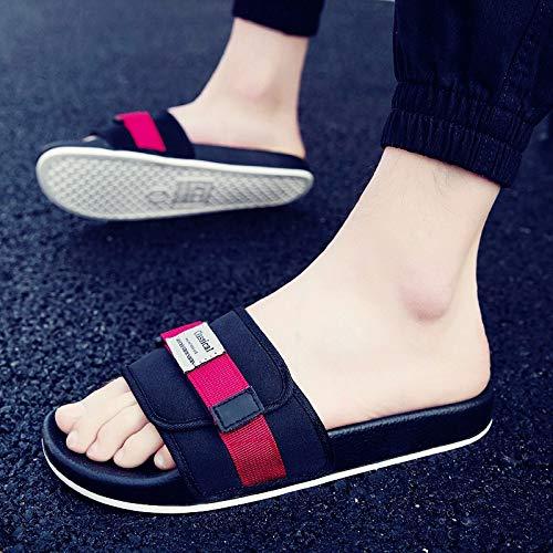 Noir rouge Shukun Tongs Hommes Pantoufles été Hommes Hommes Sandales Sandales Sandales Hommes et Chaussons Hommes Chaussures de Plage Hommes extérieur