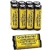 FlashDealer AA Battery 3.7V 1200mAh Rechargeable 14500 Battery 10 PCS for Flashlight