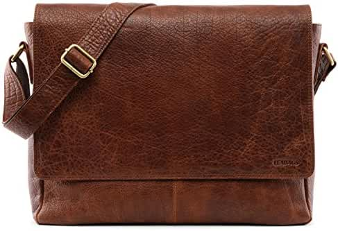 LEABAGS Oxford genuine buffalo leather messenger bag in vintage style
