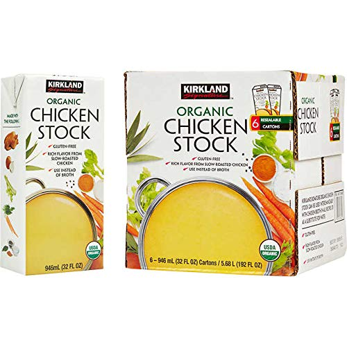 Kirkland Signature Organic Gluten-Free Chicken Stock Reasealable Cartons: 6-Count (32 fl oz.)