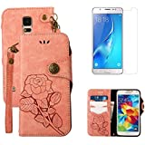 For Samsung Galaxy S5/S5 Neo Wallet Case with Screen Protector ,OYIME [ Elegant Vintage Rose ] Classic Design Flip Bookstyle Leather Holster with Wrist Lanyard Kickstand Magnetic Card Slots Function Full Body Protective Cover - Pink