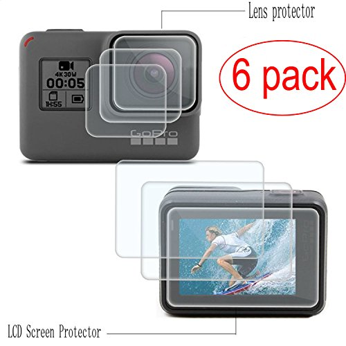 PCTC Tempered Glass Replacement Sport Camcorder Screen Protector Foils for Gopro Hero 7 6 5 Black Tempered Glass Screen and Lens Cap Cover Protector for GoPro Hero 7 6 5(6 Pack)