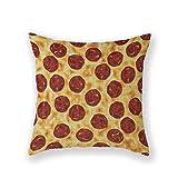 Customized Standard New Arrival Pillowcase Pizza Day Cheese Pepperoni Italian Pizza Throw Pillow 18 X 18 Square Cotton Linen Pillowcase Cover Cushion