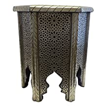 Moroccan Octagonal Accent Table in Traditional Carved Embossed Metal
