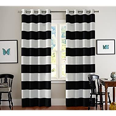 Turquoize Nautical Blackout Curtains(2 PANELS), Room Darkning, Grommet Top, Light Blocking Curtains, 52W by 63L Inch, Wave Stripes Pattern, Black & White, Sold by Pair