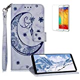 Funyee Magnetic Flip Case for Samsung Galaxy Note 8 [Free Screen Protector],Luxury Moon Embossed Pattern PU Leather Soft Wallet Case [Built-in Credit Card Slots] for Samsung Galaxy Note 8,Blue