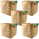 Casolly Grow Bags Velcro-Seamed with Green Handles (5-Gallon 5-Pack)
