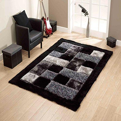 Global Home Polyester Blend Floor Carpet Mats, 20 X 32 Inch, Black Grey