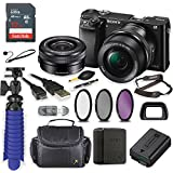 Sony Alpha a6000 Mirrorless Digitial Camera 24.3MP SLR Camera with 3.0-Inch LCD (Black) w/16-50mm Power Zoom Lens + Sandisk Memory + Filters + Camera Deluxe Case + Accessory Bundle
