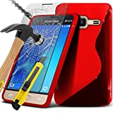 ONX3® Samsung Galaxy J1 Mini 2016 Case Custom Made BookStyle PU Leather Wallet Flip With Credit / Debit Card Slot With Tempered Glass Crystal Clear LCD Screen Protectors, Leather Flip Case Credit / Debit Card, S Line Wave Gel Case Skin Cover, Polishing Cloth & Mini Retractable Stylus Pen