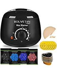 Wax Warmer, Professional Hair Removal Waxing Kit + 4 Scents Hard Wax Beans(3.5oz/Pack) + 20 Wax Applicator Sticks + 5 Protective Collars + 5 Small Bowls (Professional-grade Home Wax Kit) (BC)