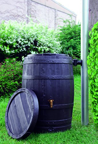 Exaco Trading Company Vino L 295631 Large Style Rain Barrel With Fast Flow Tap 110 Gallon Dark