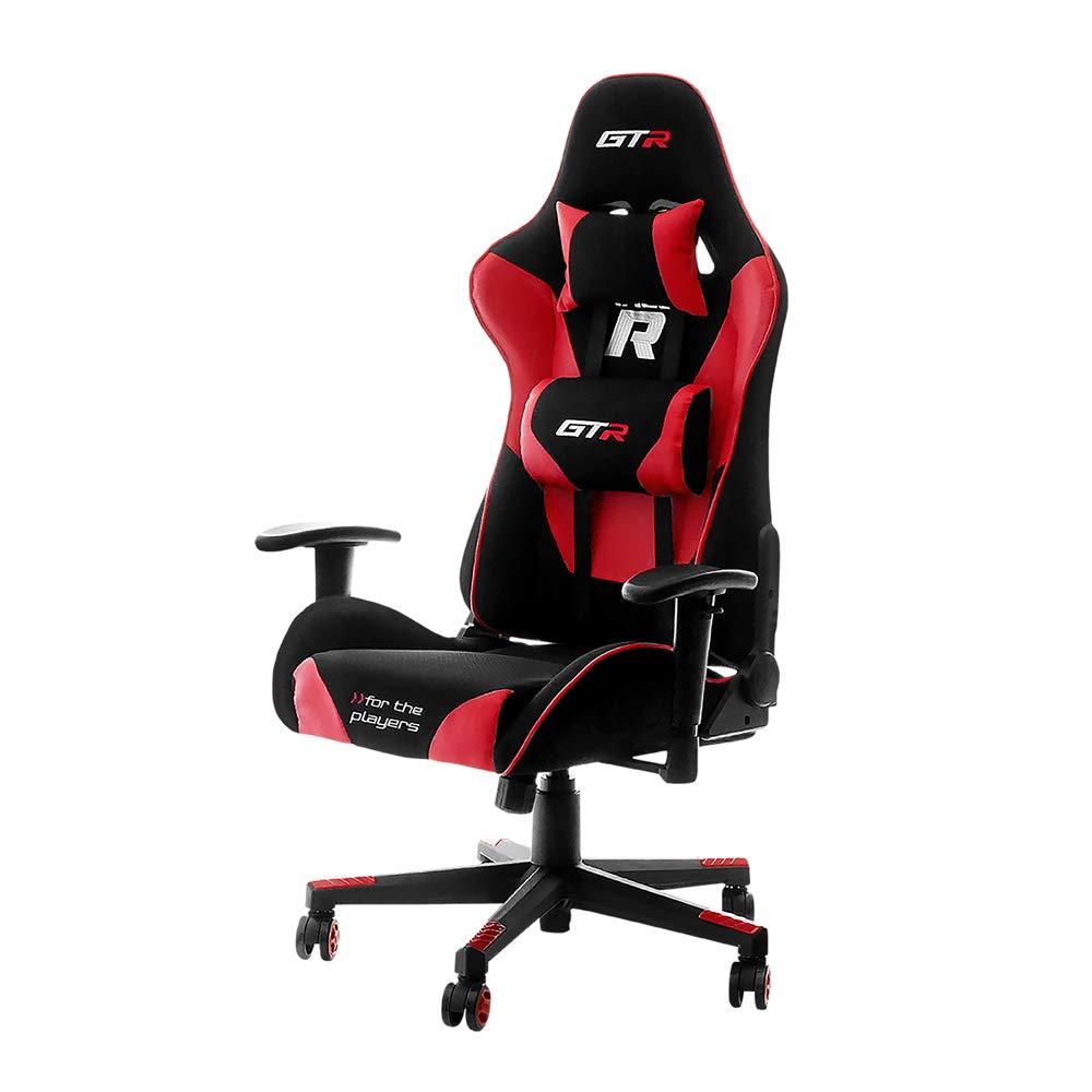 Selsey Racer GTR – Gaming-Stuhl Gamer-Stuhl Computerstuhl   Chefsessel mit Verstellbaren Kissen (schwarz-rot)