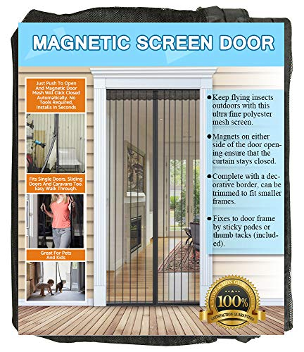 NGreen Reinforced Magnetic Screen Door - Heavy Duty Mesh Curtain and Full Frame Hook and Loop, Keeps Mosquitoes Out, Toddler and Dog Friendly, No Tools Required