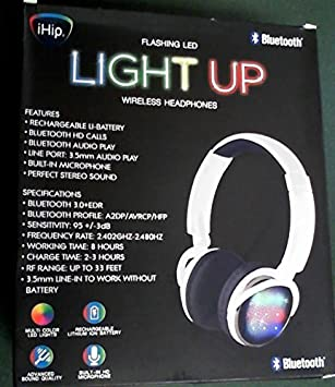 iHip intermitente LED luz hasta auriculares inalámbricos: Amazon.es: Electrónica