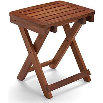 Amazon.com: Teak Wood Folding Shower Seat, Bench, Stool - Bath ...